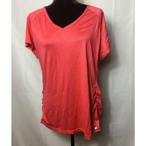 Women's tangerine short sleeve work out top